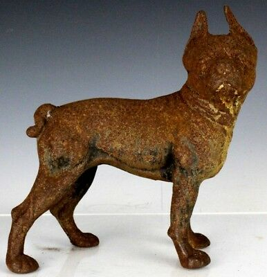 Antique Cast Iron French Bulldog Boston Terrier K9 Dog Sculpture Doorstop NR FTL