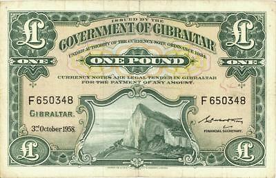 Gibralter 1 Pound Currency Banknote 1958