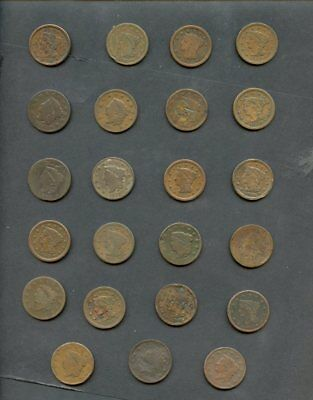 (23) U.S. Copper Large Cents 1c Lot-1816-56-MIXED GRADES good to VF,most vg-Fine