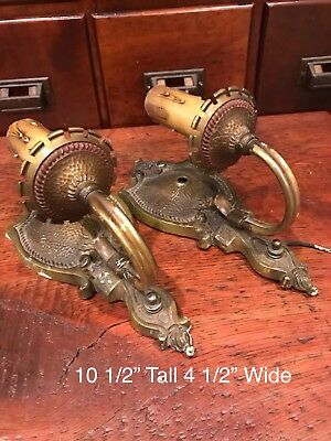 2 Vintage / Antique Victorian Cast Iron & Brass Wall Mount Sconce Light Fixtures