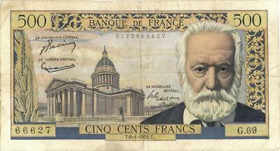 France 500 Francs Currency Banknote 1955