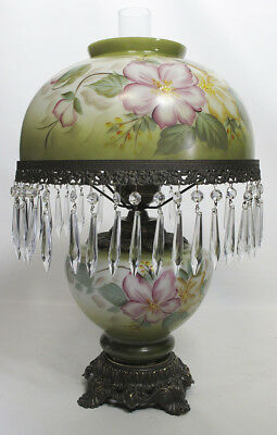 Antique Victorian Hand Painted Floral Table Hurricane Lamp Teardrop Prisms yqz