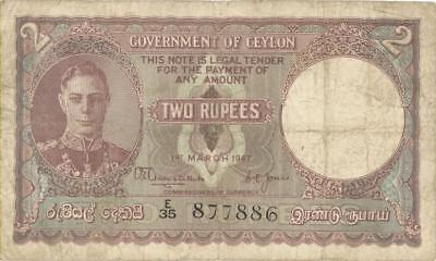 Ceylon 2 Rupees Currency Banknote 1941