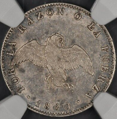 1860-So NGC AU55 CHILE DECIMO 2.3g STANDARD KM-124a LOW MINTAGE 382,000