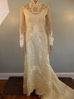 Vintage~Art Deco~Champagne Satin French Lace Netting & Applique~Wedding Gown~M