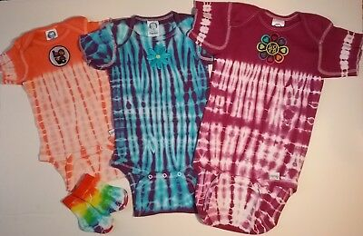 Lot of Baby Girls Tie Dyed Onesies, Size Small, Medium, Large; and Bamboo Socks