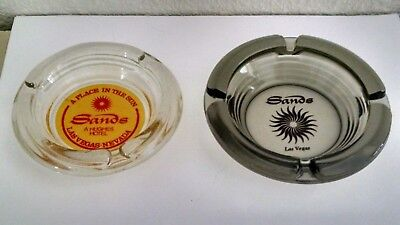 Vintage Pair of Sands Hotel & Casino Las Vegas Nevada Glass Ashtrays (used)