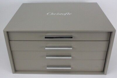 Original Christofle France Grey Fitted 4 Drawer Flatware Set Service Box NR PBB
