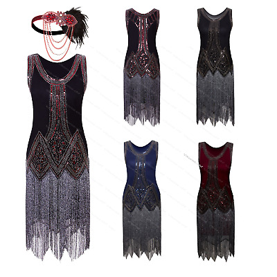 Art Deco Fringed Vintage 1920s Flapper Gatsby Roaring 20s Party Cocktail Dress