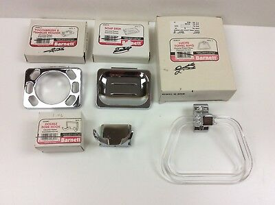 Vintage Chrome Bathroom Fixtures NOS Lucite Towel Ring Soap Dish Toothbrush Hook