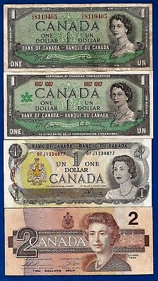 1954 1967 1973 CANADA Canadian 1 one + 1986 2 two DOLLAR BILLS NOTES
