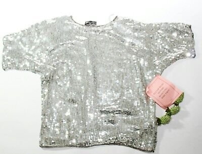 Vtg 80's.Royal Feelings.Metallic Silver Sequin Pullover Top. Womans L. India NWT