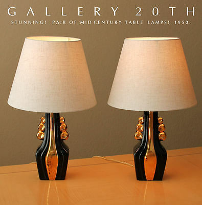 RARE PAIR OF MID CENTURY MODERN ATOMIC TABLE LAMPS! Eames Vtg 50s 60s Black Gold