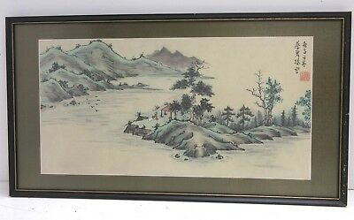 #1 Vintage Chinese Painting On Silk Of Philosopher In Landscape
