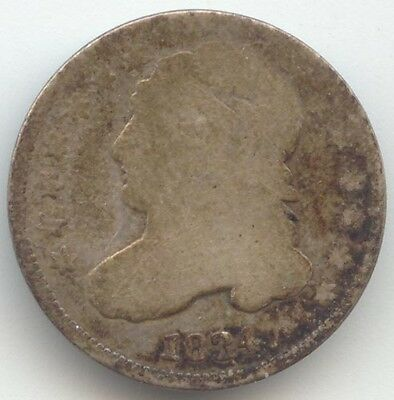 1834 Capped Bust Dime, Well Worn AG, True Auction, No Reserve