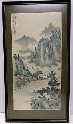 #2 Vintage Chinese Painting On Silk Of Philosopher And Figure In Boat