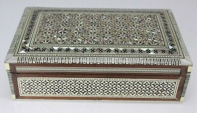 Vintage Egyptian Handmade Wood Mother Of Pearl Inlaid Jewelry Trinket Box NR PBB