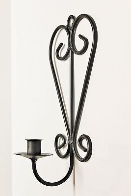 Wrought Iron Large Scroll Heart Taper Sconce - Hand Made By Amish New