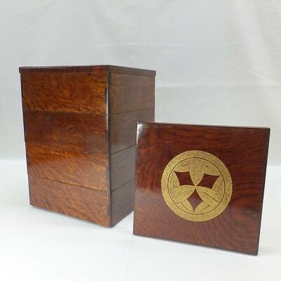 F066: Real old Japanese tier of lacquered boxes with good grain and CHINKIN work