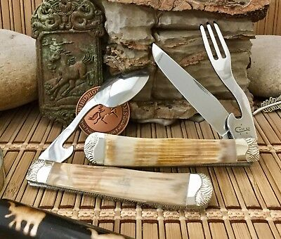 Case XX Wild Horse Custom Genuine 25,000 Year Old Cross FOSSIL Hobo Knife #3