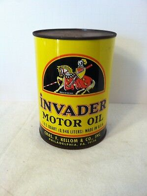 I Quart Invader Motor Oil Full Can - Chas Kellom - Very Nice!