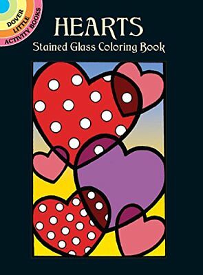 Coloring Book Adults Hearts Stained Glass Small Page Paint Relaxing Activity USA