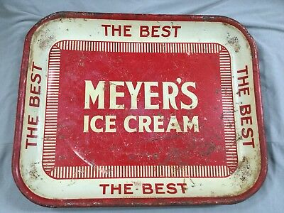 """vintage antique """"MEYERS'S ICE CREAM THE BEST"""" ADVERTISING TRAY JERSEY CITY NJ?"""