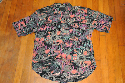 VTG 80s 90s button pink green orange black Funky neon rayon surfer shirt Large L