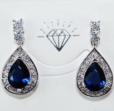 4CT Blue Sapphire & White Topaz 925 Solid Sterling Silver Earrings Jewelry