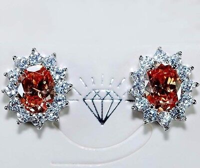 Padparadscha Sapphire & Topaz 925 Solid Sterling Silver Earrings Jewelry