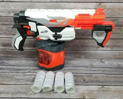 Nerf Vortex Pyragon Blaster with 40 Round Drum and 40 New Glow Discs Pre-owned