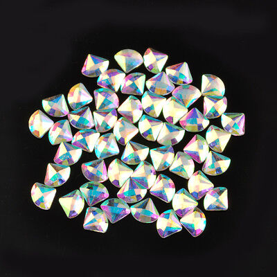 50pcs Crystal AB Czech Crystal Rhinestone Flatback Nail Art Decoration Heart