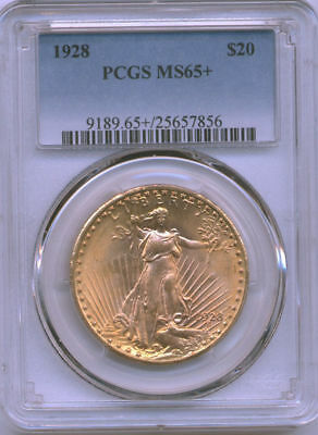 1928 $20 St Gauden Double Eagle PCGS MS65+ Very Rare Gem Quality w/Pop only 281!