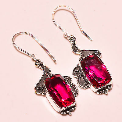 "Rubellite Tourmaline 925 Solid Sterling Silver Earrings 2.00""   Md3485"