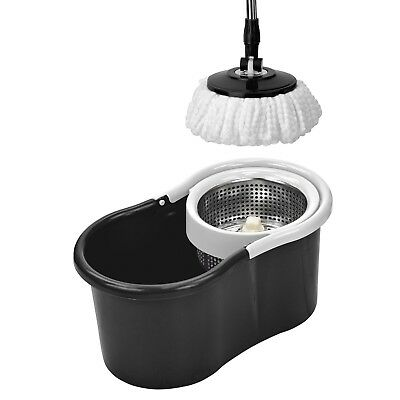 360 Degree Rotating Spinning Spin Mop Bucket Adjustable Handle 2 Cleaning Head W