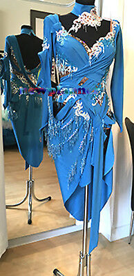 Women Salsa Rumba Latin Samba Cha Dance Dress US 12 UK 14 Two Blue White Beads