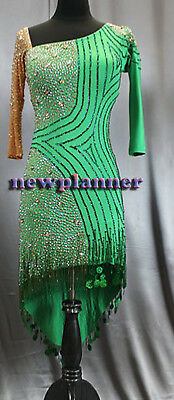 Women Ballroom Salsa Rumba Latin Samba Dance Dress US 8 UK 10 Flesh Two Green