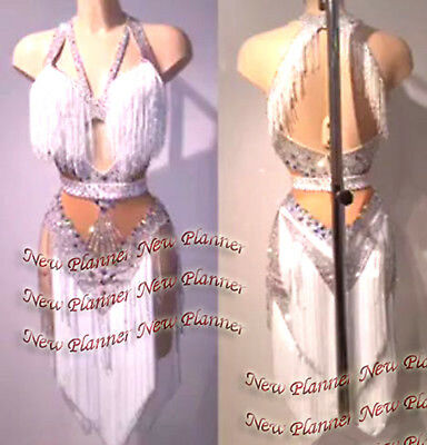 Women Salsa Rumba Latin Competition Dance Dress US 8 UK 10 Flesh White Fringe