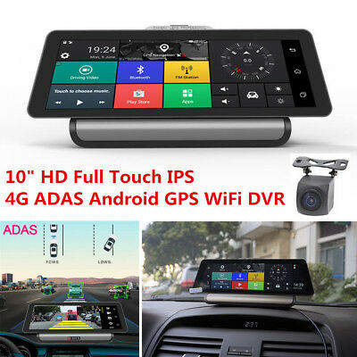 """10"""" Full Touch IPS 4G WiFi Android 5.1 GPS Dual Lens Car DVR Dashboard Recorder"""