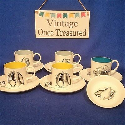Vintage 1960s SUSIE COOPER - Black Fruits - 5 x COFFEE CANS + SAUCERS + COASTER