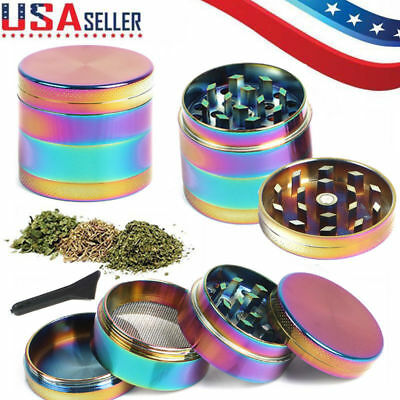 Herb Spice Grinder 4 pcs Herbal Alloy Smoke Metal Chromium Crusher Rainbow Color