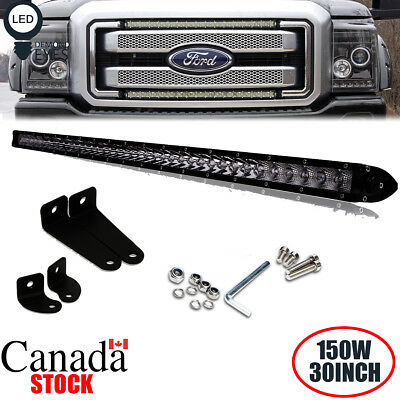 150W 30'' LED Light Bar Combo Single Row Hidden Bumper for FORD F150 250 350