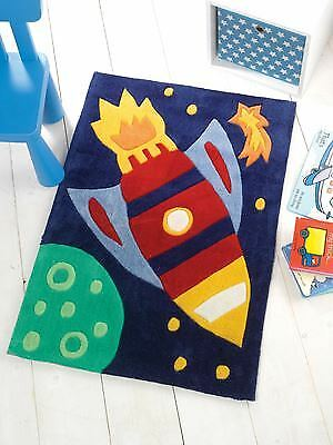 Space Rocket Planet Stars Blue Red Non-Slip Rectangle Rug Mat 70Cm X 100Cm