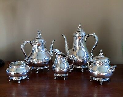 Vintage Reed & Barton Provincial 7040 5 Pc Silverplated Tea Coffee Set