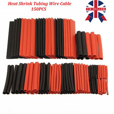 150 PCS Heat Shrink Tube Sleeving Black Sizes & Lengths Car Wire Wrap Heatshrink