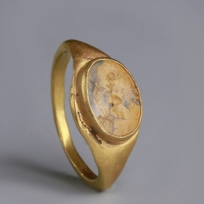 Roman Gold Ring with Nike Intaglio