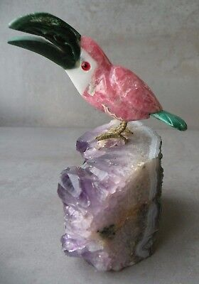 1980's PETER MUELLER Carved Rhodochrosite Malachite TOUCAN on Amethyst Base