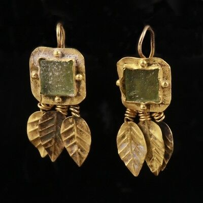 Stunning Roman Gold Earrings with Green Stone and Leaf design