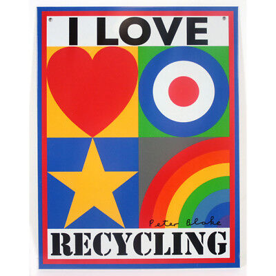 I Love Recycling - limited edition tinplate by Sir Peter Blake