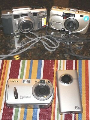 Lot of 4  35mm film Camera: Olympus, Flip Video & Sony Cybershot